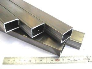画像1: ステンレス角パイプ未研磨 30mm×20mm×肉厚1.5mm×440mm=1本、端材 (1)